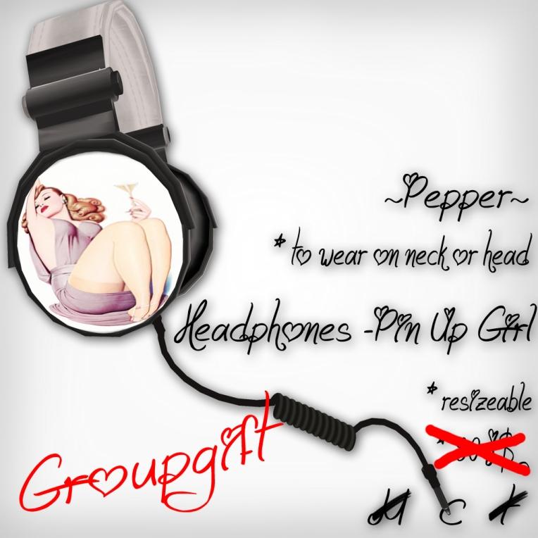 verkaufsschild headphones pinupgirl